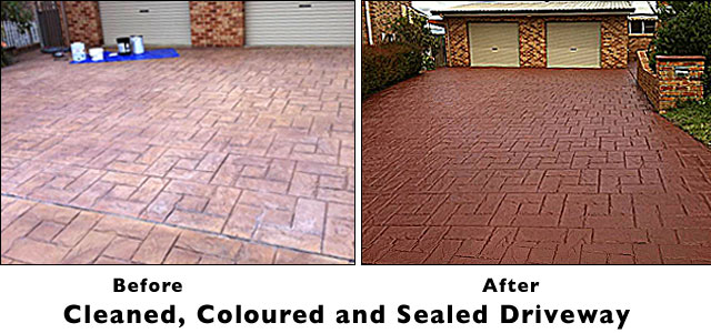 concrete cleaning, colouring and sealing services Canberra