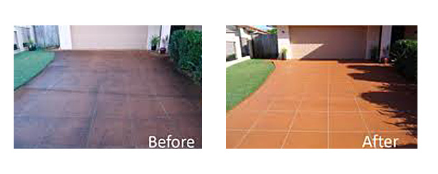 concrete cleaning colouring sealing before and after